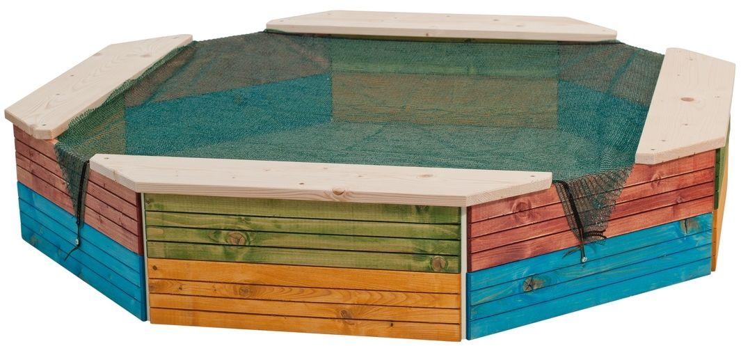 Woody Piaskownica drewniana kolorowa, 130 x 130 x 26 cm