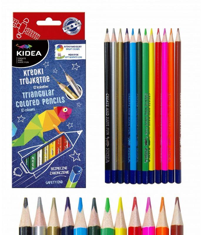 Kredki trójkątne 12 kolorów Kidea 2807 5954-KT12KA
