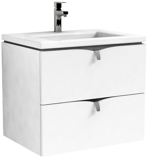 Oristo Siena szafka podumywalkowa wisząca 60x50x45cm biały połysk OR45-SD2S-60-1