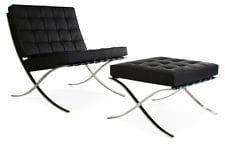 Czarny Fotel z Podnóżkiem skóra naturalna Inspirowany Projektem Barcelona