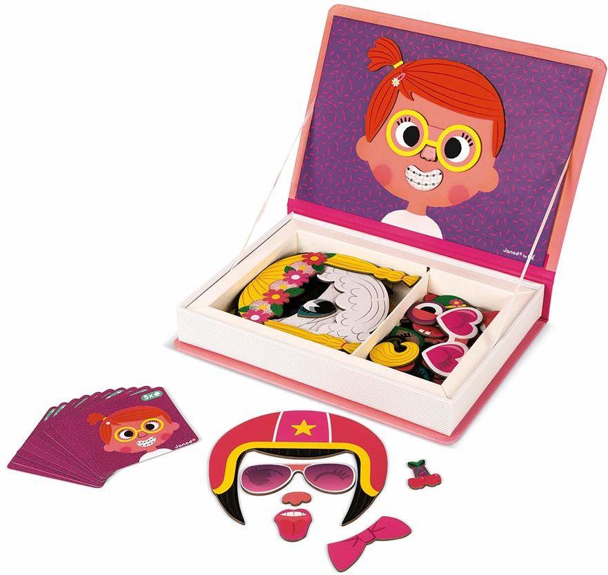 Janod Girl''s Crazy Faces Magnetyczna Zabawka Edukacyjna, Wielokolorowy, 55 Części, J02717