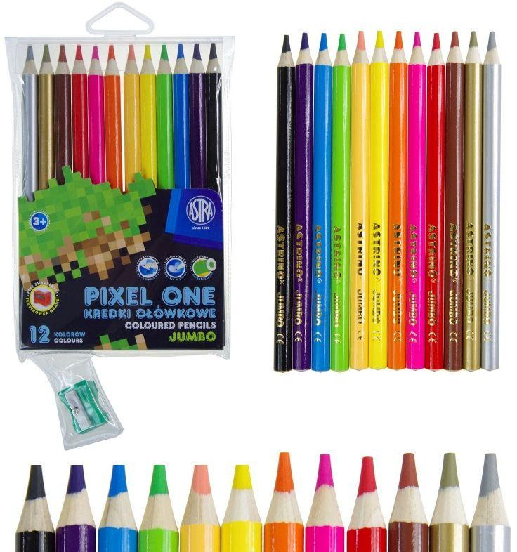 Kredki ołówkowe JUMBO 12 kolorów Pixel One + temperówka Astra 0115 5959-KD-PO