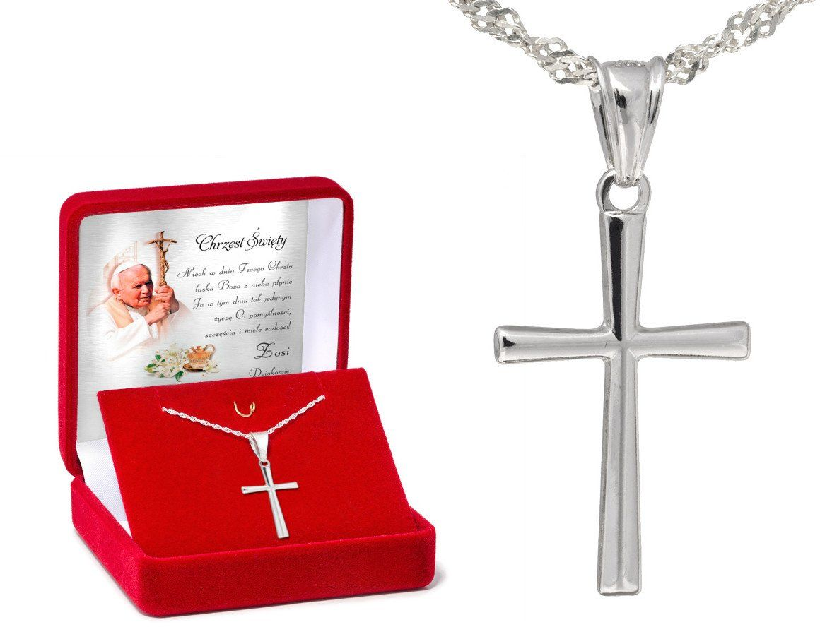 Srebrny krzyżyk z łańcuszkiem / na I Komunię Św. / Chrzest Św. / pr. 925 / Dedykacja w pudełku