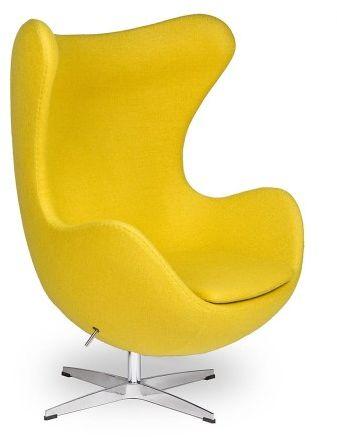 Żółty Fotel JAJO Wełna Naturalna Inspirowany Projektem Egg Chair