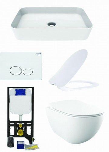 Biały zestaw ceramiki Miska WC podwieszana 352x340x510 mm z deską soft+Umywalka nablatowa 60x40x10 cm Creavit+ Stelaż podtynkowy, Regulacja 180-230 mm, 3/6L, 300kg+przycisk