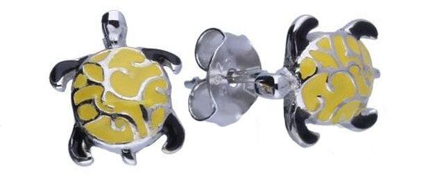 Srebrne kolczyki 925 żółte żółwie 1,05g