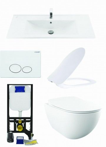Biały zestaw ceramiki Miska WC podwieszana 352x340x510 mm z deską soft+Umywalka 100x45 cm Creavit+ Stelaż podtynkowy, Regulacja 180-230 mm, 3/6L, 300kg +przycisk