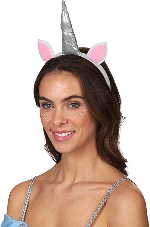 Andrea Moden 3888005  opaska na włosy jednorożec, wysadzana rogiem i uszami, zwierzęta, bajkowa istota, tiara, jednorożce, ozdoba do włosów, impreza tematyczna, karnawał