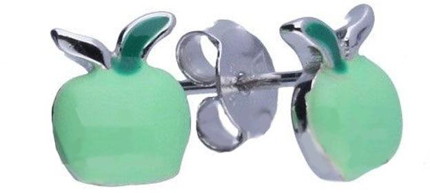 Srebrne kolczyki 925 zielone jabłko 1,00g