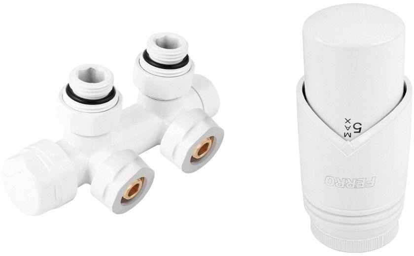 Zestaw termostatyczny kątowy, biały, rozstaw 50mm + złączki CU fi15 i pex 16x2