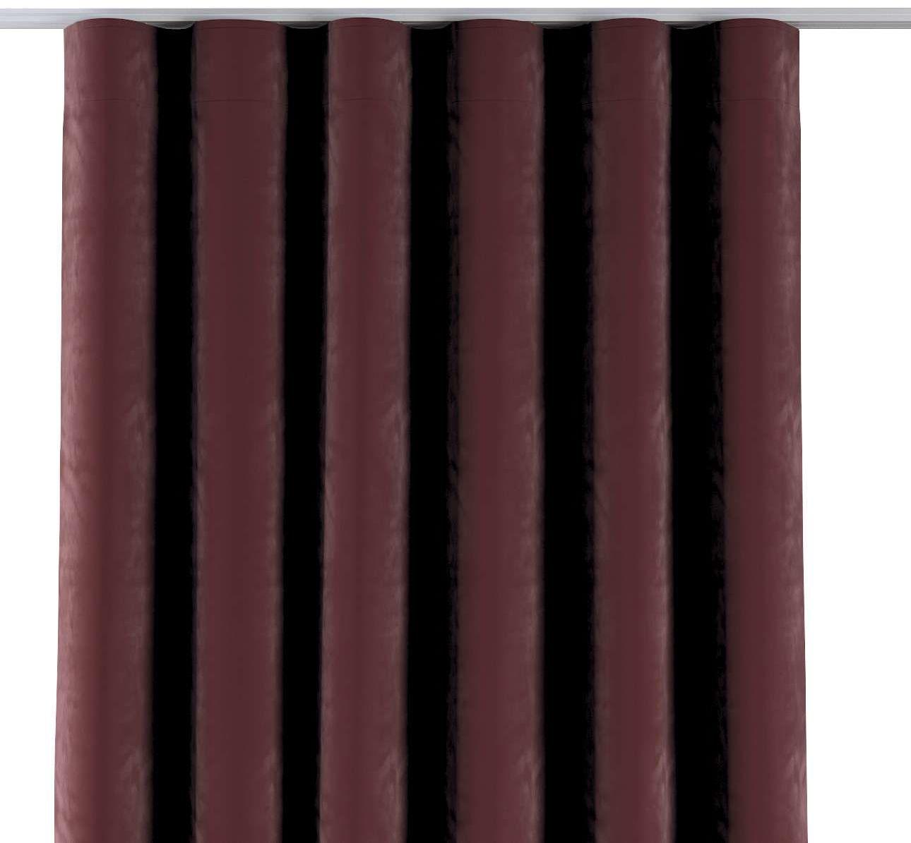 Zasłona na taśmie wave, bordowy, 1szt 65  280 cm, Velvet