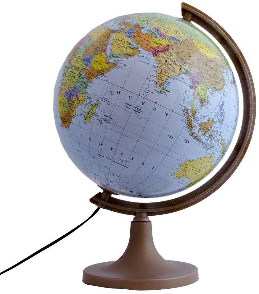 Globus podświetlany MAPA ŚWIATA, drewniana podstawa, 320mm /01923/