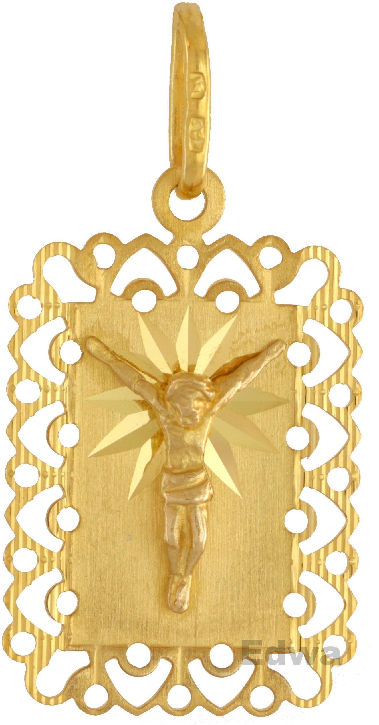 Zawieszka złota, medalik z wizerunkiem ukrzyżowanego Chrystusa pr.585