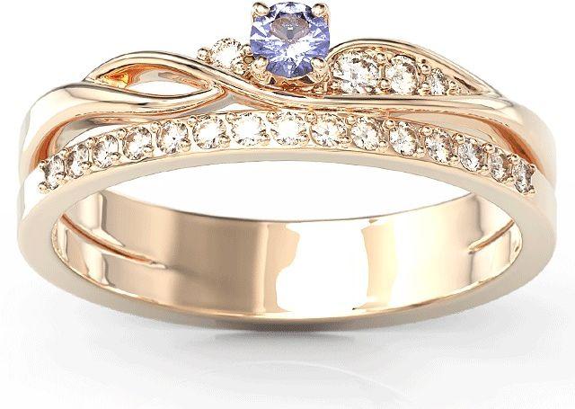 Pierścionek z różowego złota z tanzanitem i brylantami bp-77p-tan/d