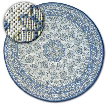 Dywan koło SZNURKOWY SIZAL FLAT 48691/591 WITRAŻ KWIATY niebieski koło 120 cm
