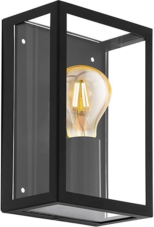 Lampa ścienna zewnętrzna EGLO ALAMONTE 1, 1-ogniskowa lampa zewnętrzna, stal ocynkowana, kolor: czarny, szkło: przezroczyste, oprawka: E27, IP44