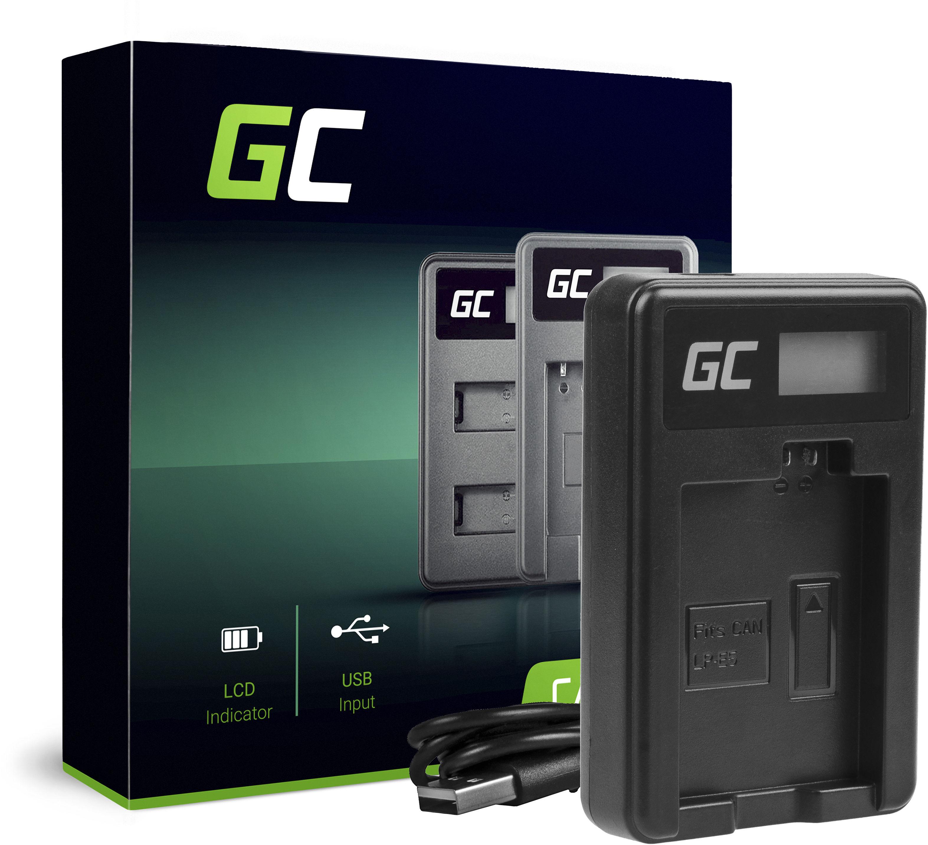 Ładowarka CBC-E5, LC-E5 Green Cell  do Canon LP-E5, EOS 450D 600D 1000D Kiss F X2 X3 Rebel T1i XS Xsi (8.4V 5W 0.6A)
