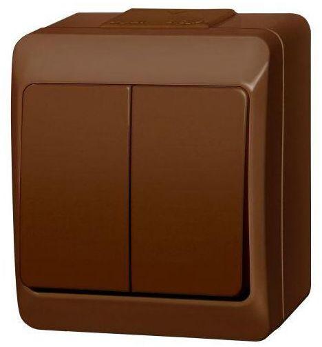 Włącznik podwójny HERMES Brązowy ELEKTRO-PLAST