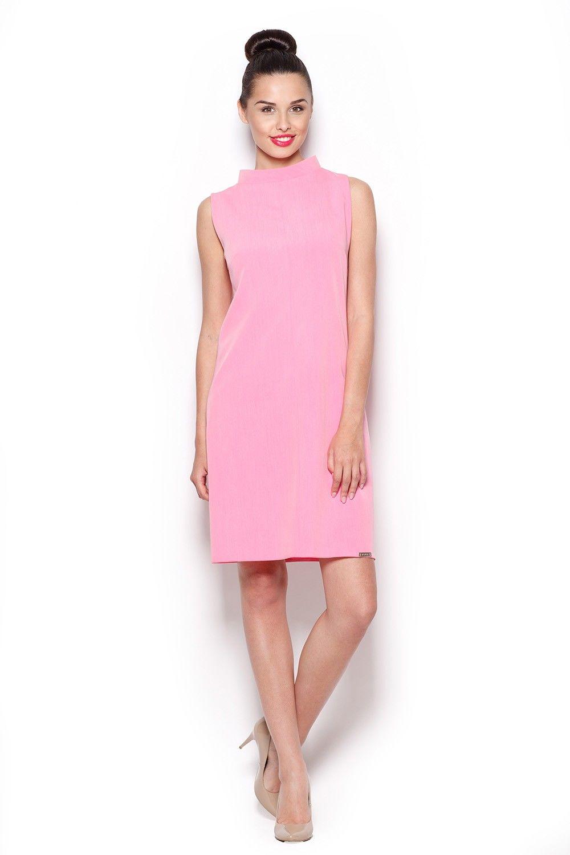 Elegancka sukienka z niskim golfem - różowy