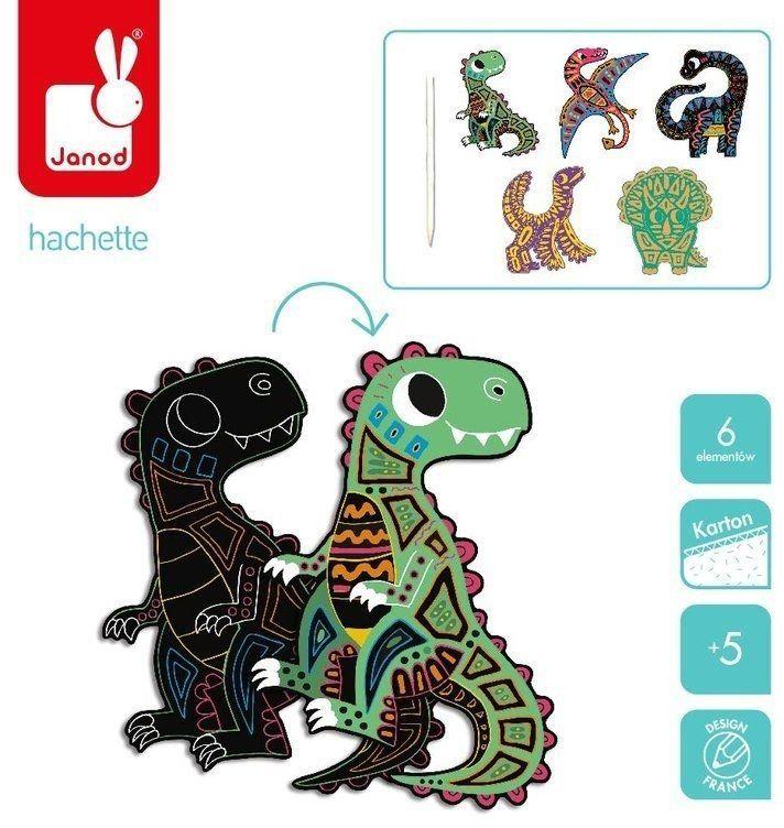 Zestaw kreatywny Do zdrapywania Dinozaury 5+, Janod J07889