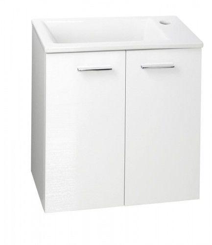 Szafka umywalkowa 49x50x24,6 cm wisząca,2 drzwi+chromowane uchwyty, biała ZOJA