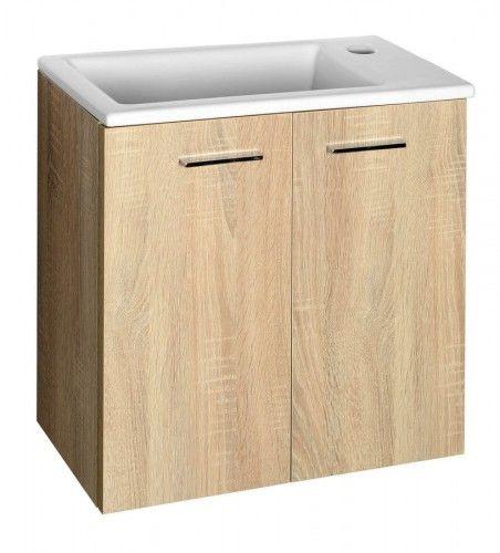 Szafka umywalkowa 49x50x24,6 cm wisząca,2 drzwi+chromowane uchwyty, dąb platin ZOJA