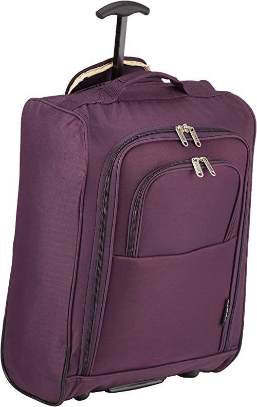 5Cities 50 cm lekka torba na bagaż podręczny - zatwierdzony Ryanair & Easyjet 2-kołowy bagaż podręczny do kabiny bagażowej. 42 l torba podróżna z kłódką (50 cm, śliwka)