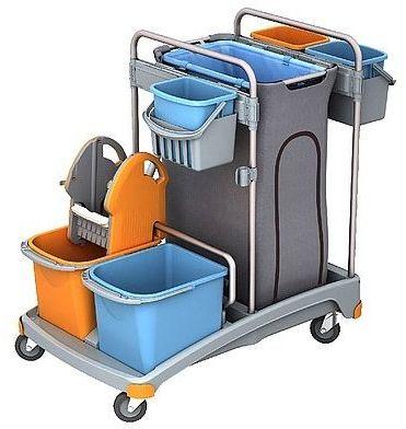 Wózek serwisowy dwuwiadrowy z koszem na odpady i dodatkowymi pojemnikami Splast TSS-0008
