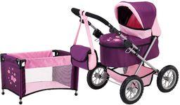 Bayer Design 13057AB wózek dla lalek modny, składany, zestaw z torbą na ramię i łóżkiem podróżnym