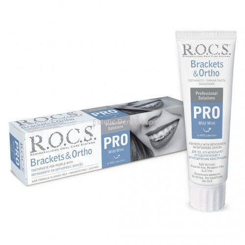 ROCS PRO Brackets & Ortho - ortodontyczna pasta do zębów o łagodnym smaku mięty bez fluoru 100 ml