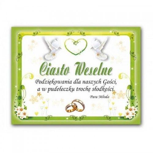 Etykieta na ciasto weselne, podziękowanie dla gości Zielony Motyw Florystyczny, 25 szt.