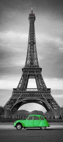 Paryż - wieża eiffla - citroen - fototapeta