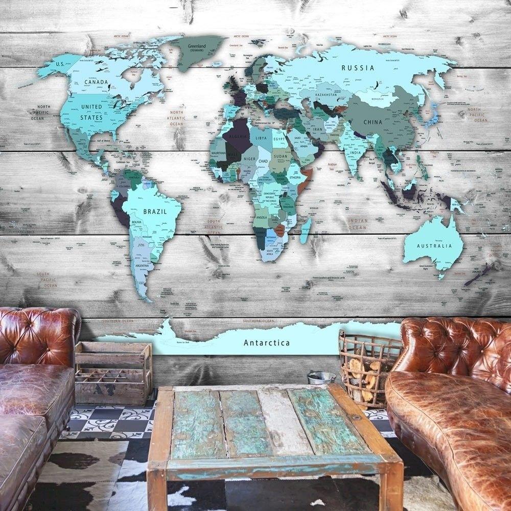 Fototapeta - mapa świata: błękitne kontynenty