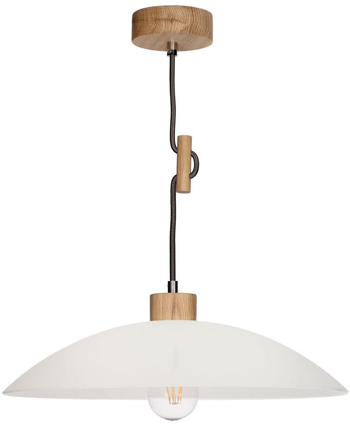 Spot Light 1408174 Jona lampa wisząca drewno dąb olejowany antracyt klosz szkło biały 1xE27 60W 40cm