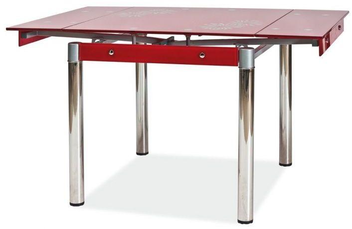 Stół GD-082 80(131)x80 czerwony rozkładany