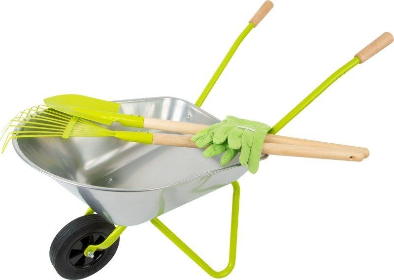 Zabawka ogrodowa Srebrna taczka z narzędziami ogrodowymi 11627-Small Foot Design, zabawy w plenerze