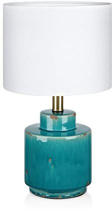 Lampa stołowa Cous 106606 Markslojd niebieska lampa stołowa z białym abażurem