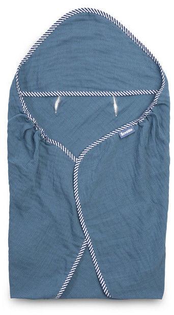 Sensillo otulacz muślinowy do fotelika niebieski 75x75