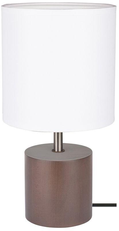 Spot Light 7181976 Trongo Round lampa stołowa drewno orzech/czarny PVC abażur tkanina biały 1xE27 25W 30cm
