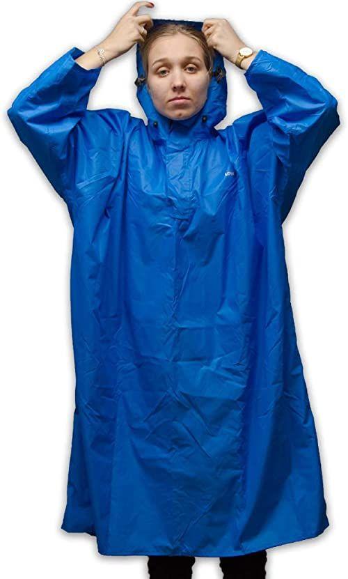 LOWLAND Outdoor ponczo przeciwdeszczowe  wodoszczelne (słup wody 7000 mm), niebieskie, XL