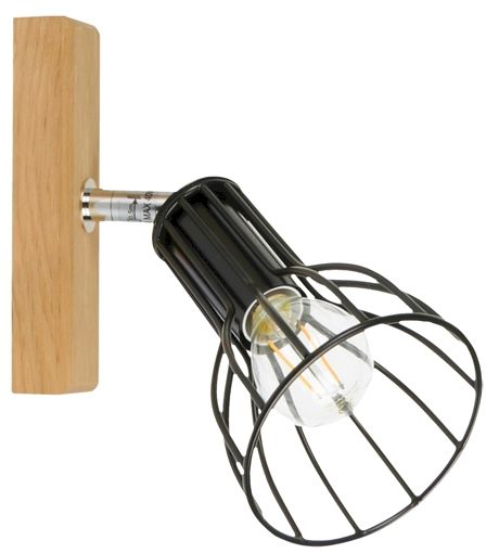 Spot Light 2344174 Megan Wood kinkiet lampa ścienna drewno dąb olejowany klosz czarny metal 1xE14 40W 10cm
