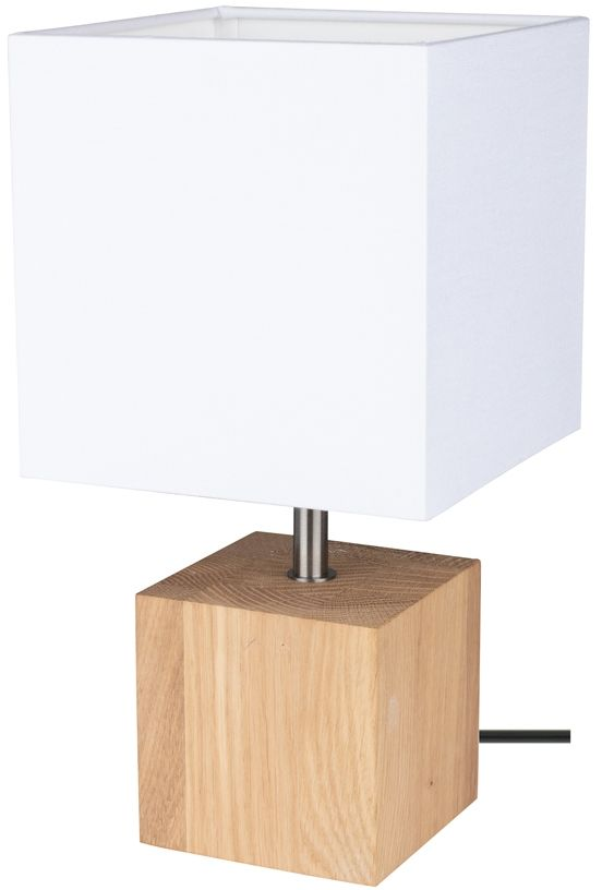 Spot Light 7199174 Trongo Square lampa stołowa drewno dąb olejowany/czarny abażur tkanina biały 1xE27 25W 30cm
