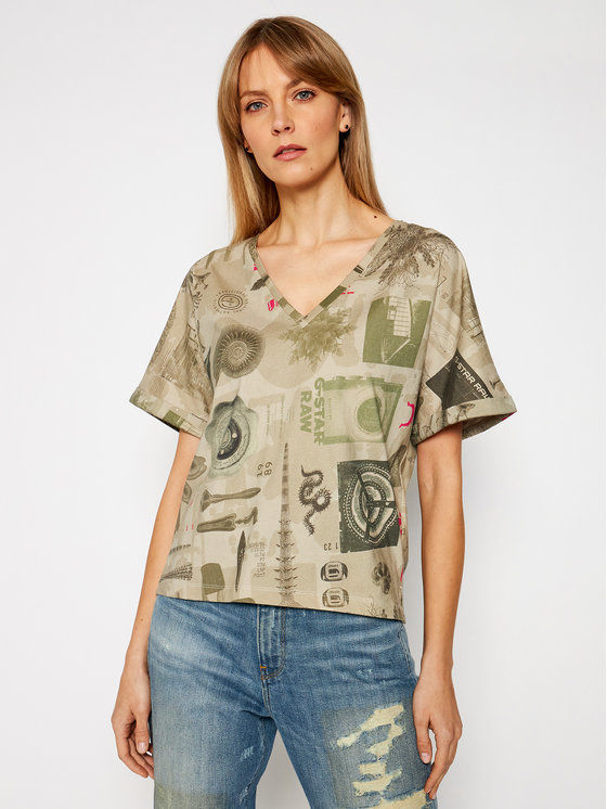 G-Star Raw T-Shirt Joosa D19233-C387-C375 Zielony Relaxed Fit