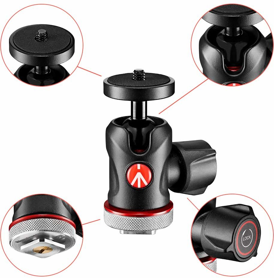 Manfrotto 492LCD głowica kulowa Micro (z stopką do monitora, LED, mikrofonu, kamery sportowej i akcesoriami (MH492LCD; nośność: 4 kg, waga: 170 g, gwint 1/4 cala i stopka błyskowa na spodzie)