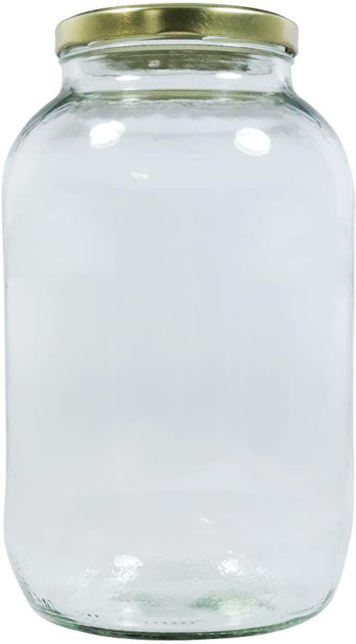 Mikken XL słoik na przetwory 3400 ml z zakrętką, złoty, pojemnik na zapasy, szklany pojemnik z etykietą do opisu