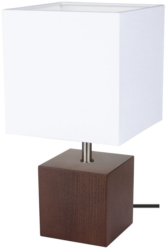 Spot Light 7199176 Trongo Square lampa stołowa drewno orzech/czarny abażur tkanina biały 1xE27 25W 30cm