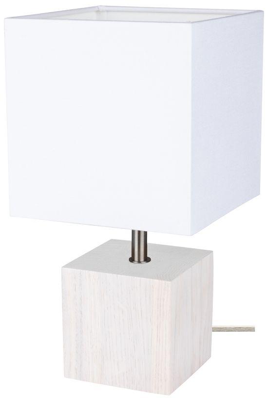 Spot Light 7191032 Trongo Square lampa stołowa drewno dąb bielony/transparentny abażur tkanina biały 1xE27 25W 30cm