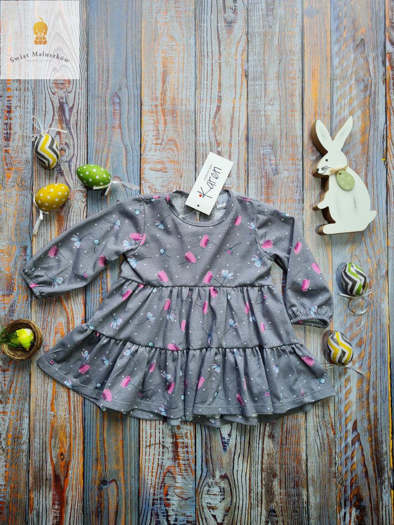 Sukienka w różowe kwiatuszki Karen r.74-110