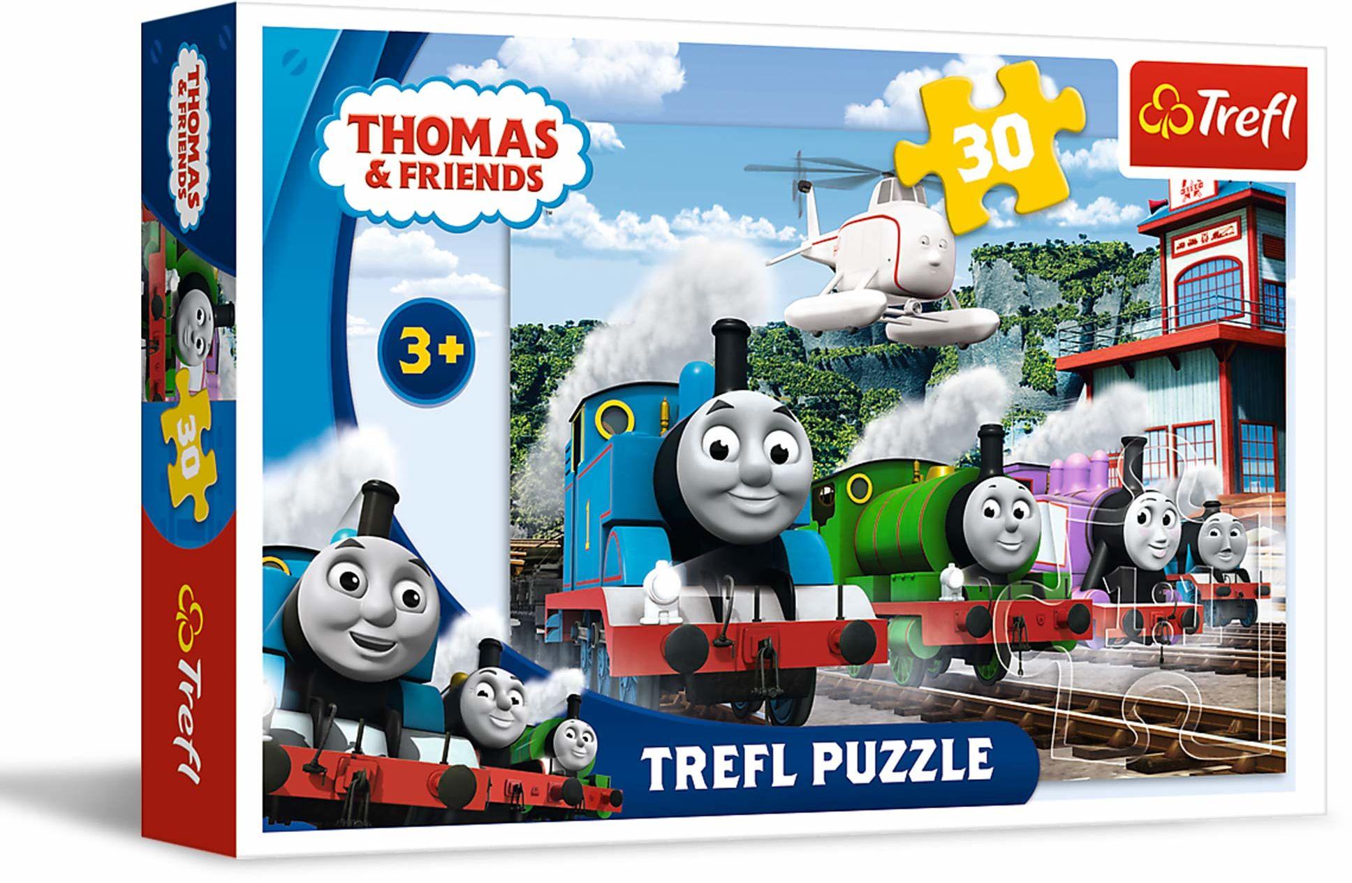 Trefl Wyścig na Torach Puzzle 30 Elementów Thomas & Friends o Wysokiej Jakości Nadruku dla Dzieci od 3 lat