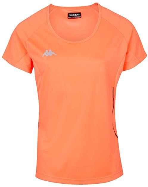 Kappa Damski T-shirt Fania Techniczny, neonowy pomarańczowy, 6Y